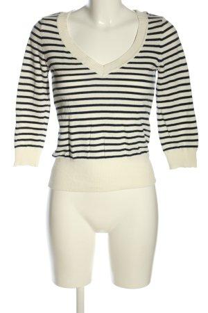 H&M V-Ausschnitt-Pullover wollweiß-schwarz Streifenmuster Casual-Look