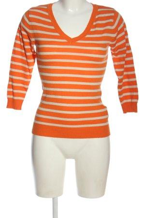 H&M V-Ausschnitt-Pullover hellorange-wollweiß Streifenmuster Casual-Look
