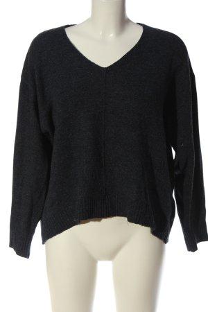 H&M V-Ausschnitt-Pullover blau meliert Casual-Look