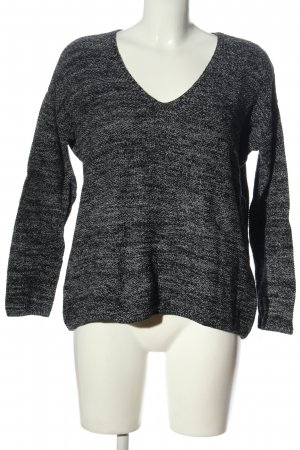 H&M V-Ausschnitt-Pullover hellgrau-schwarz meliert Casual-Look