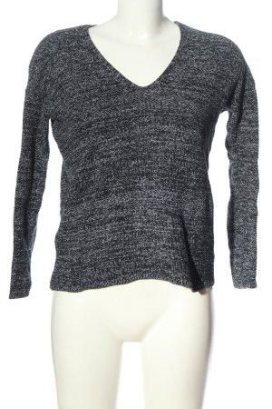 H&M V-Ausschnitt-Pullover schwarz-weiß meliert Casual-Look