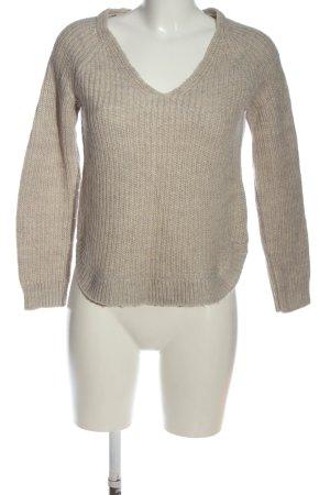 H&M V-Ausschnitt-Pullover wollweiß Zopfmuster Casual-Look