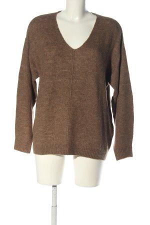 H&M V-Ausschnitt-Pullover braun-nude meliert Casual-Look