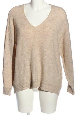 H&M V-Ausschnitt-Pullover creme Business-Look