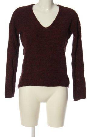 H&M V-Ausschnitt-Pullover rot meliert Casual-Look