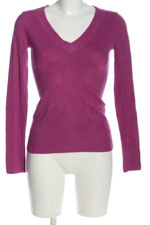 H&M V-Ausschnitt-Pullover lila Casual-Look
