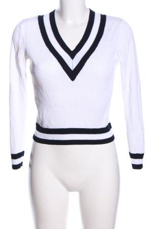 H&M V-Ausschnitt-Pullover weiß-schwarz Streifenmuster Casual-Look