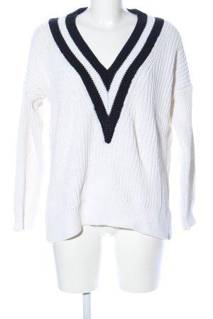 H&M V-Ausschnitt-Pullover weiß-schwarz Business-Look