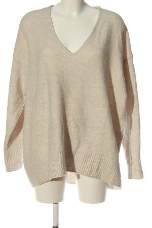 H&M V-Ausschnitt-Pullover wollweiß meliert Casual-Look