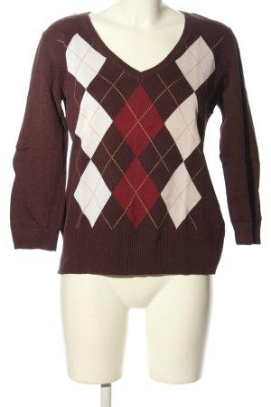 H&M V-Ausschnitt-Pullover grafisches Muster Business-Look