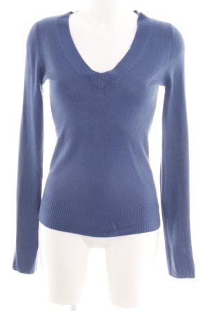 H&M V-Ausschnitt-Pullover blau Casual-Look