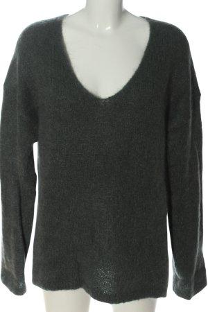 H&M V-Ausschnitt-Pullover hellgrau Casual-Look