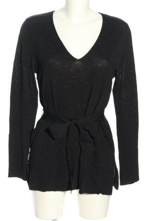 H&M Maglione con scollo a V nero puntinato stile casual