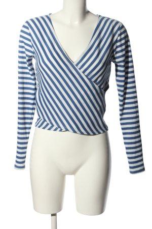 H&M V-Ausschnitt-Pullover blau-weiß Streifenmuster Casual-Look