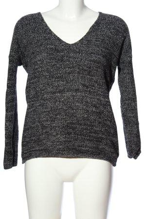 H&M V-Ausschnitt-Pullover hellgrau meliert Casual-Look