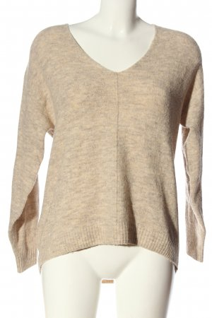 H&M V-Ausschnitt-Pullover creme meliert Elegant