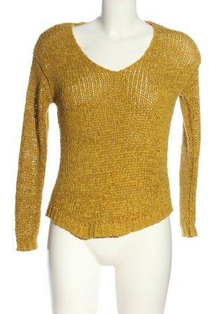 H&M V-Ausschnitt-Pullover blassgelb Zopfmuster Casual-Look
