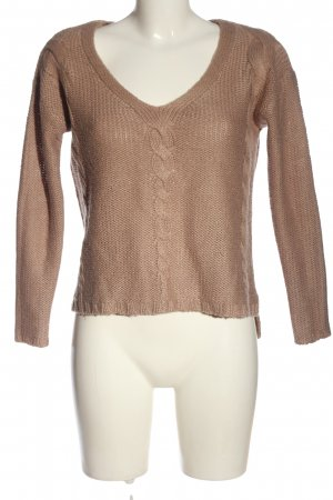 H&M V-Ausschnitt-Pullover braun Zopfmuster Casual-Look