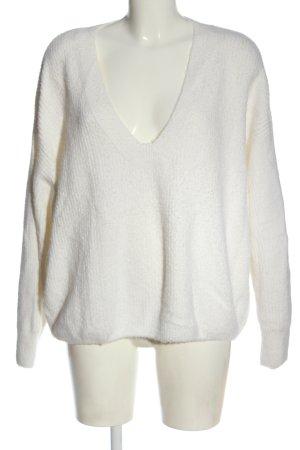 H&M V-Ausschnitt-Pullover weiß Casual-Look