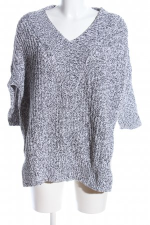 H&M V-Ausschnitt-Pullover weiß-schwarz meliert Casual-Look