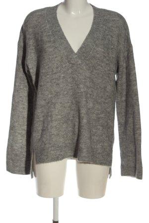 H&M V-Ausschnitt-Pullover hellgrau-creme meliert Casual-Look