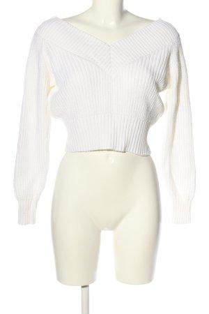 H&M V-Ausschnitt-Pullover weiß Zopfmuster Casual-Look