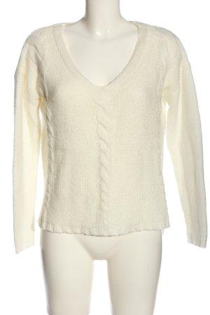H&M V-Ausschnitt-Pullover wollweiß Zopfmuster Elegant