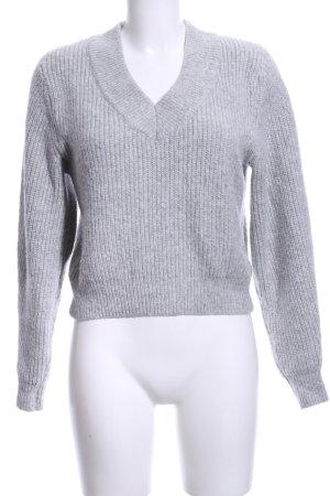 H&M V-Ausschnitt-Pullover grau Casual-Look