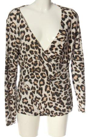 H&M V-Ausschnitt-Pullover Leomuster Casual-Look