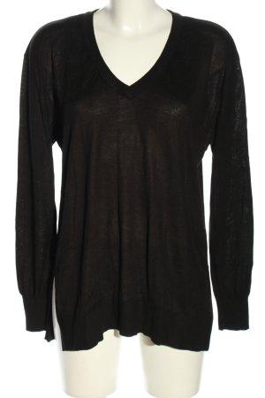 H&M V-Ausschnitt-Pullover schwarz Casual-Look