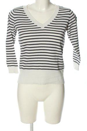 H&M V-Ausschnitt-Pullover weiß-schwarz Allover-Druck Casual-Look
