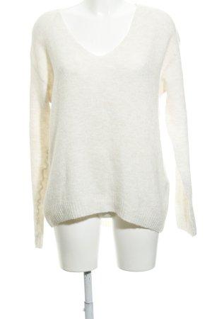 H&M V-Ausschnitt-Pullover wollweiß Webmuster Casual-Look