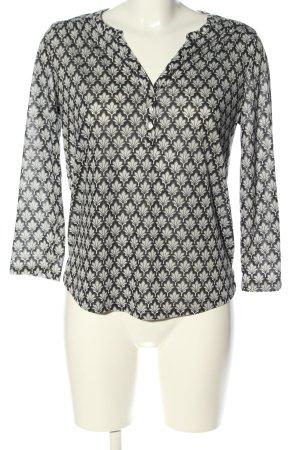 H&M V-Ausschnitt-Shirt wollweiß-schwarz Allover-Druck Casual-Look