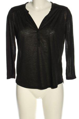 H&M V-Ausschnitt-Shirt schwarz meliert Casual-Look