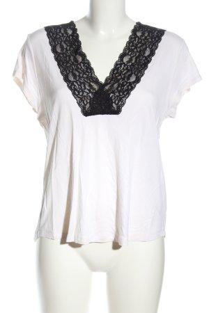 H&M V-Ausschnitt-Shirt weiß-schwarz Casual-Look