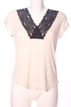 H&M V-Ausschnitt-Shirt wollweiß-braun Casual-Look