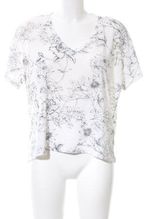 H&M V-Ausschnitt-Shirt weiß-schwarz Blumenmuster Casual-Look
