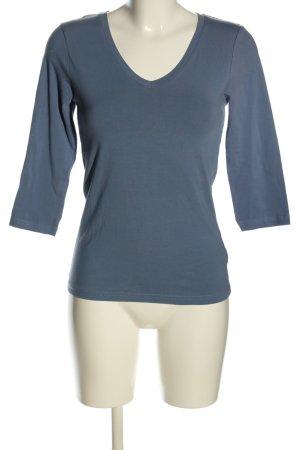 H&M V-hals shirt blauw casual uitstraling