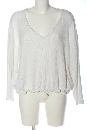 H&M V-Ausschnitt-Shirt weiß Casual-Look