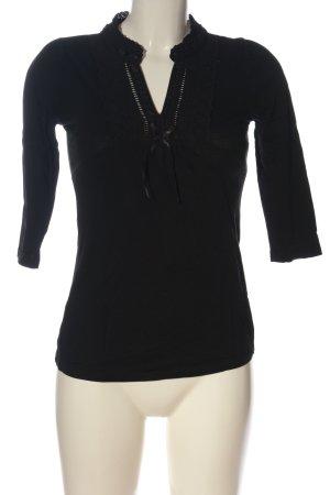 H&M Koszulka z dekoltem w kształcie litery V czarny W stylu casual