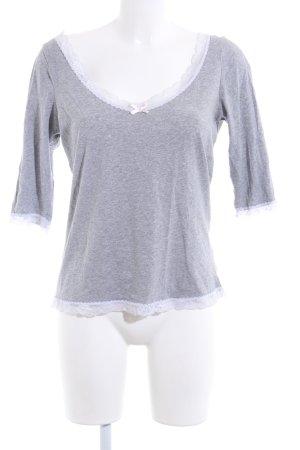H&M V-Ausschnitt-Shirt hellgrau meliert Casual-Look