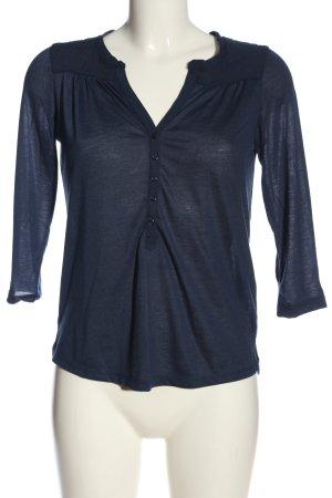 H&M V-Ausschnitt-Shirt blau meliert Casual-Look