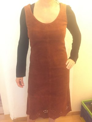 H&M Leren jurk cognac-bruin Leer