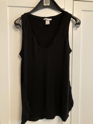 H&M Viskose Top schwarz Gr. XS V-Ausschnitt