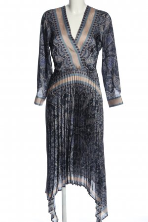 H&M Jurk met langere achterkant blauw abstract patroon elegant