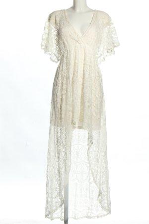 H&M Robe bas asymétrique crème Motif de tissage élégant