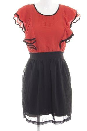 H&M Volantkleid rot-schwarz Casual-Look