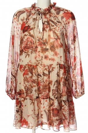H&M Flounce Dress cream-red allover print business style