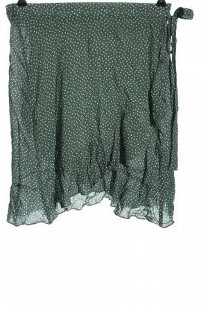 H&M Flounce Skirt khaki-white spot pattern casual look