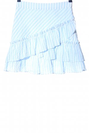 H&M Spódnica z falbanami niebieski-biały Wzór w paski W stylu casual